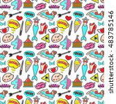 fashion patch badges with lips  ... | Shutterstock .eps vector #483785146