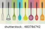 kitchen utensils set   retro... | Shutterstock .eps vector #483786742