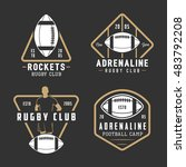 set of vintage rugby and... | Shutterstock . vector #483792208