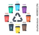 recycle waste bins vector...   Shutterstock .eps vector #483801196