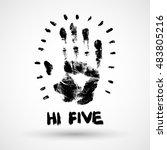 hi five grunge illustration. | Shutterstock .eps vector #483805216