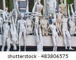 many mannequins side by side on ... | Shutterstock . vector #483806575