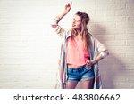 expressive boho girl singing... | Shutterstock . vector #483806662