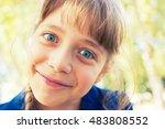 happy pretty blonde girl... | Shutterstock . vector #483808552