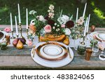 wedding table setting with... | Shutterstock . vector #483824065