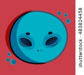 vector monsters. cute alien... | Shutterstock .eps vector #483824458