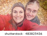 middle aged couple taking a... | Shutterstock . vector #483825436