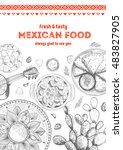 mexican food frame. mexican... | Shutterstock .eps vector #483827905
