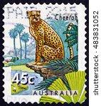 Small photo of CROATIA ZAGREB, 1 AUGUST 2016: a stamp printed in Australia shows Cheetah, Acinonyx Jubatus, Big Cat, circa 1994