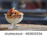 yogurt  muesli and fresh fruits ... | Shutterstock . vector #483833536