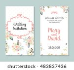wedding set. romantic vector... | Shutterstock .eps vector #483837436