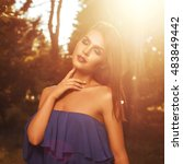 young beautiful brunette... | Shutterstock . vector #483849442