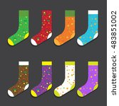 design colorful socks set... | Shutterstock .eps vector #483851002