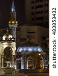 Small photo of IZMIR, TURKEY - August 1, 2015; Izmir Clock Tower at night from Izmir, Turkey
