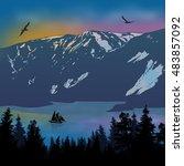 beautiful landscape on... | Shutterstock .eps vector #483857092