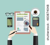 auditor work desk  accounting... | Shutterstock .eps vector #483874048