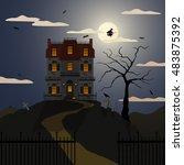 vector illustration of a spooky ... | Shutterstock .eps vector #483875392