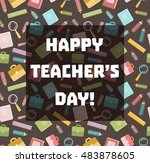 happy teacher's day.  school... | Shutterstock .eps vector #483878605