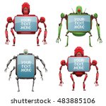vector set of funny big red ... | Shutterstock .eps vector #483885106