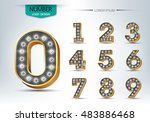 number set with realistic lamp  ... | Shutterstock .eps vector #483886468