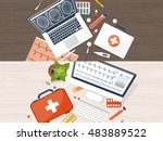 medical flat background. health ... | Shutterstock . vector #483889522