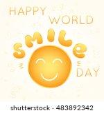 vector card for world smile day | Shutterstock .eps vector #483892342
