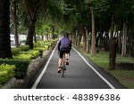 bicycle lane near the road with ... | Shutterstock . vector #483896386