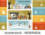 time to travel infographic flat ... | Shutterstock .eps vector #483896836