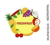 fresh fruit symbol. typography. ... | Shutterstock .eps vector #483904996