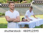 professional massage medical... | Shutterstock . vector #483912595