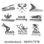 set of hair salon vector labels ... | Shutterstock . vector #483917578
