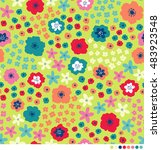 cute ditsy floral pattern... | Shutterstock .eps vector #483923548