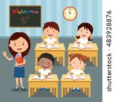 teacher and school kids in... | Shutterstock .eps vector #483928876