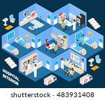 hospital isometric interior... | Shutterstock . vector #483931408