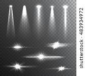 white beam lights set of...   Shutterstock . vector #483934972