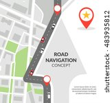 road navigation concept with... | Shutterstock . vector #483935812
