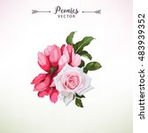 bouquet of peonies  watercolor  ... | Shutterstock .eps vector #483939352