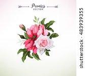 bouquet of peonies  watercolor  ...   Shutterstock .eps vector #483939355