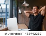 satisfied with work done. happy ... | Shutterstock . vector #483942292