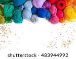 Stock photo colored yarn on a white background skeins of wool yarn for knitting colored confetti 483944992