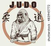 judoka gorilla dressed in... | Shutterstock .eps vector #483945772