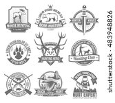 black hunting emblems set with... | Shutterstock . vector #483948826