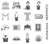 museum decorative black icons... | Shutterstock . vector #483949372