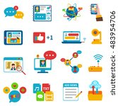 social network icons set with... | Shutterstock . vector #483954706
