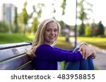 portrait of a beautiful young... | Shutterstock . vector #483958855