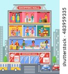 shopping mall center store...   Shutterstock . vector #483959335