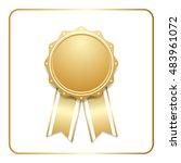 award ribbon gold icon. blank... | Shutterstock . vector #483961072