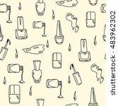 hand drawn nail polish doodles... | Shutterstock .eps vector #483962302