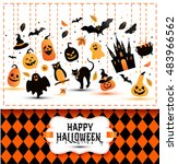 halloween banner  on colors and ... | Shutterstock .eps vector #483966562