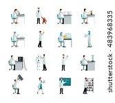scientists decorative flat...   Shutterstock . vector #483968335